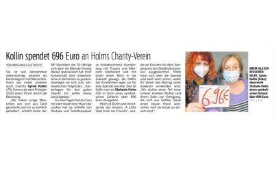 Sylvie Kollin spendet 696 € an Holms Charity-Verein